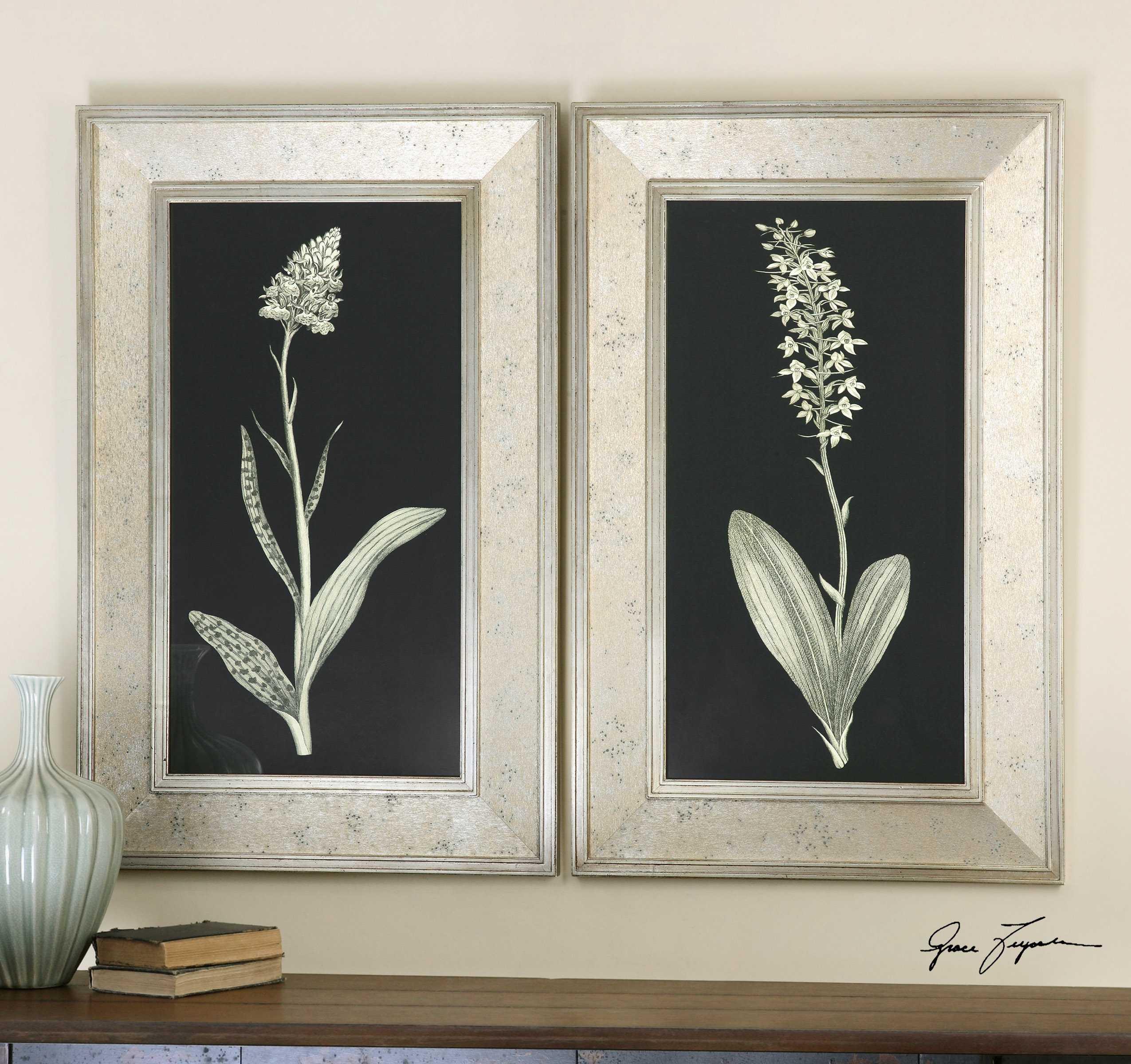Uttermost Antique Floral Study Framed Wall Art 2 Piece