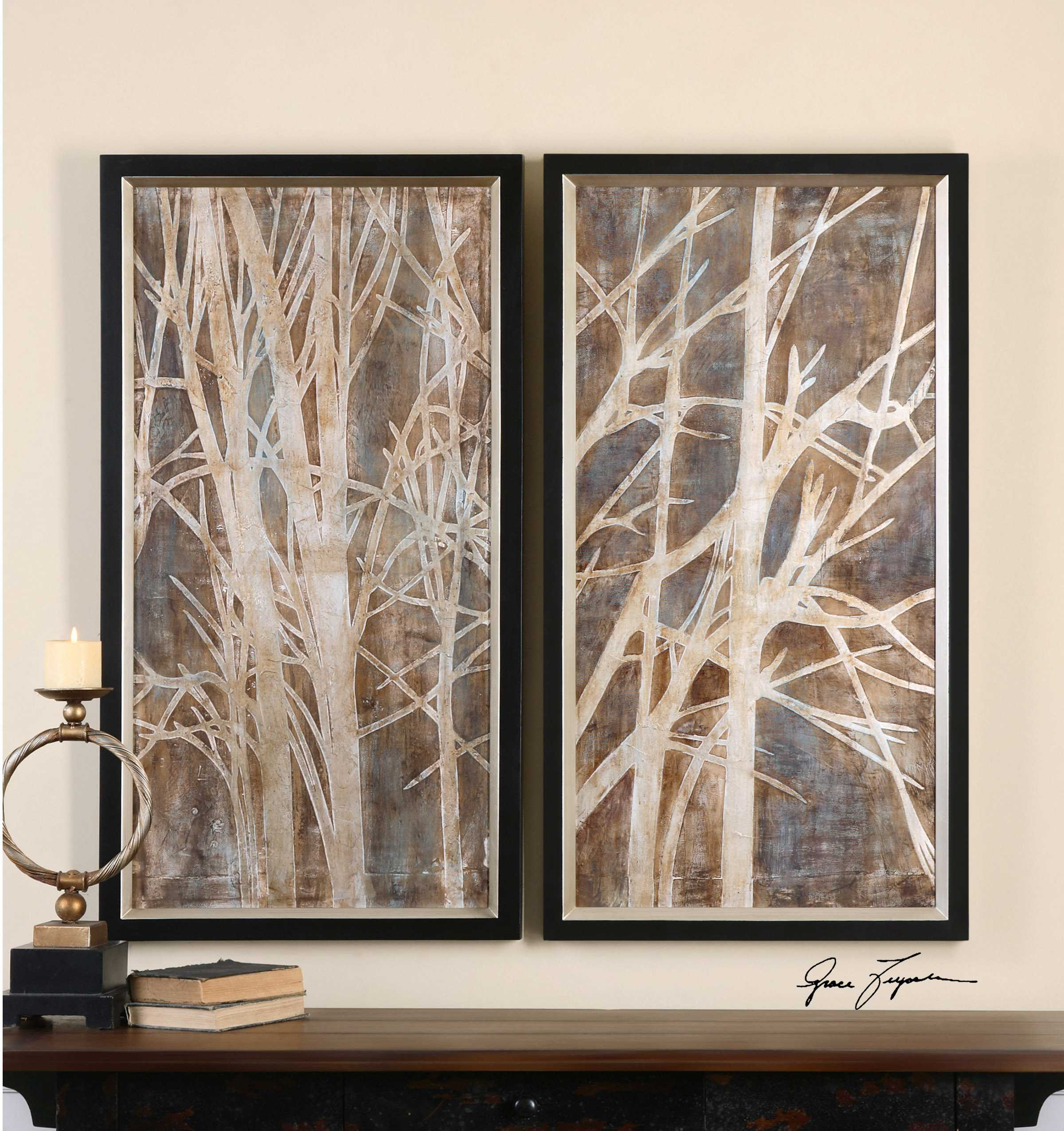 Uttermost Twigs Hand Painted Wall Art (2 Piece Set)