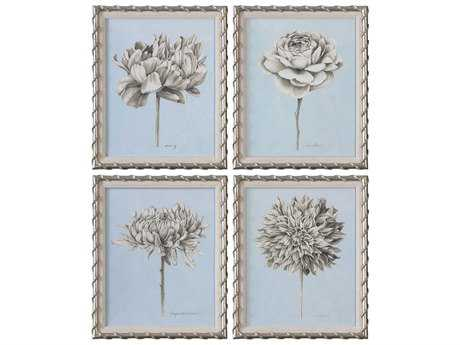 Uttermost Graphite Botanical Study Floral Prints (Set of Four)