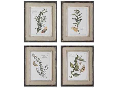 Uttermost Butterfly Plants Framed Wall Art (4 Piece Set)