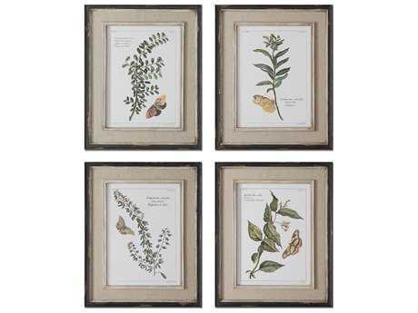 Uttermost Butterfly Plants Framed Wall Art (4 Piece Set)