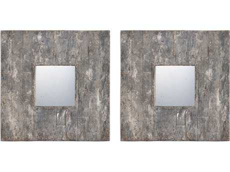 Uttermost Grace Feyock Piera Square Aged Stone Mirrors (Set of Two)