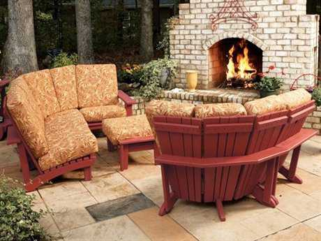 Uwharrie Chair Chat Conversation Corner Sectional Cushion Wood Lounge Set