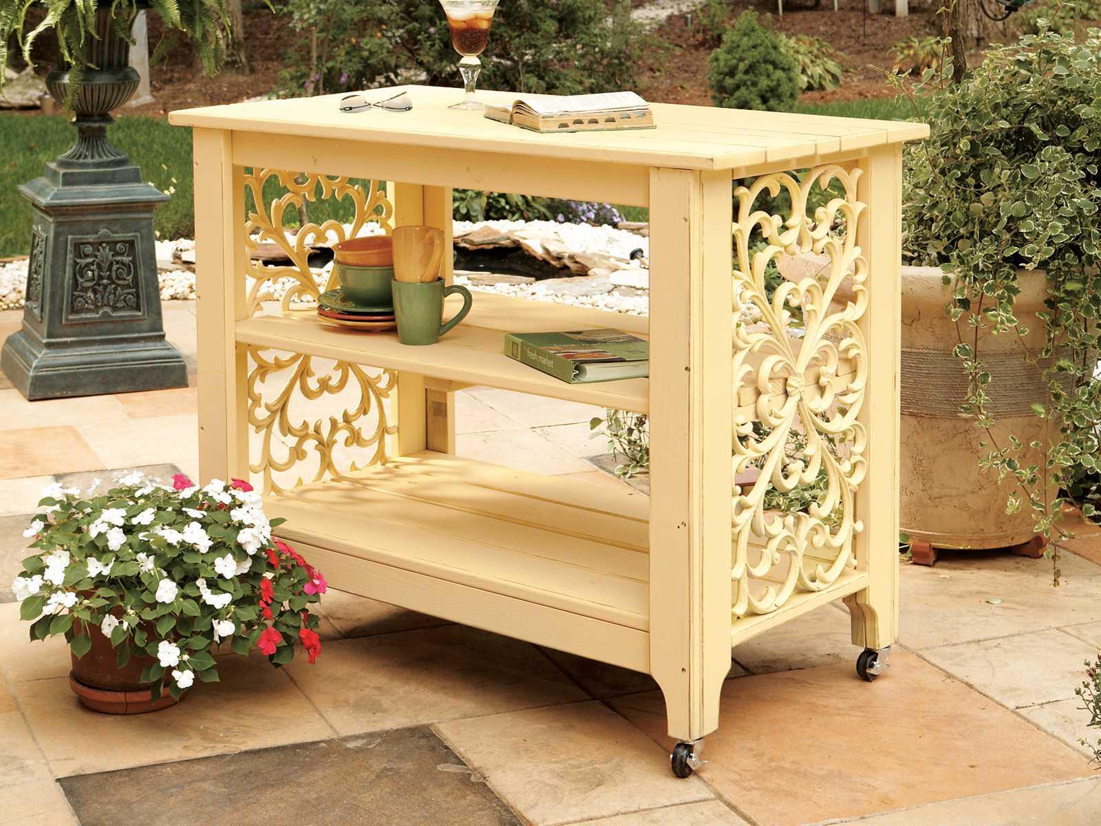 Wooden Patio Serving Carts ~ Uwharrie chair veranda wood serving cart uwv