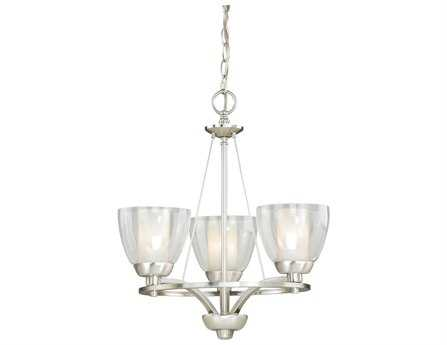 Vaxcel Asti Satin Nickel & Clear Outer with Frosted Inner Glass Three-Light 18'' Wide Mini Chandelier