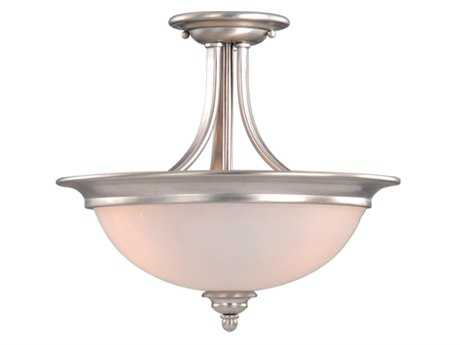 Vaxcel Avalon Brushed Nickel & Frosted Opal Glass Two-Light 15 Semi-Flush Mount Light