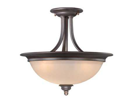 Vaxcel Avalon Oil Burnished Bronze & Creme Cognac Glass Two-Light 15 Semi-Flush Mount Light