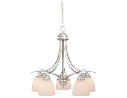 Vaxcel Avalon Brushed Nickel & Frosted Opal Glass Five-Light 24'' Wide Chandelier