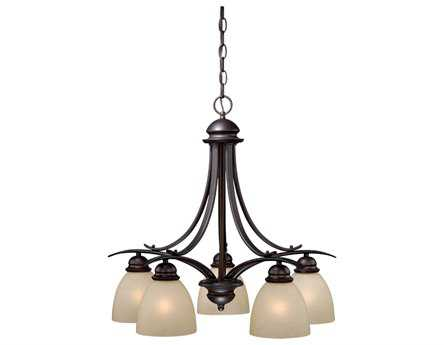 Vaxcel Avalon Oil Burnished Bronze & Creme Cognac Glass Five-Light 24'' Wide Chandelier