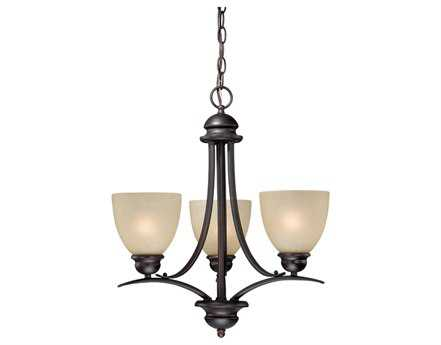 Vaxcel Avalon Oil Burnished Bronze & Creme Cognac Glass Three-Light 20'' Wide Chandelier