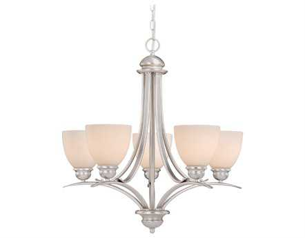 Vaxcel Avalon Brushed Nickel & Frosted Opal Glass Five-Light Chandelier