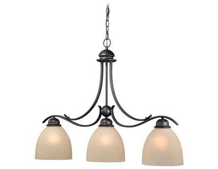 Vaxcel Avalon Oil Burnished Bronze & Creme Cognac Glass Three-Light Kitchen Island Light