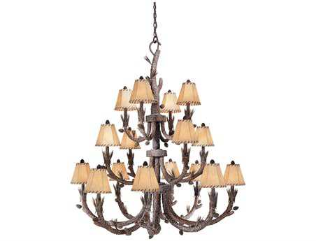 Vaxcel Aspen Pine Tree & Fabric 16-Light 46'' Wide Grand Chandelier