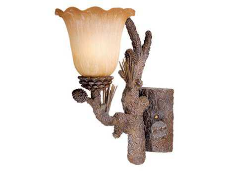 Vaxcel Aspen Pine Tree & Brushed Amber Glass Vanity Light