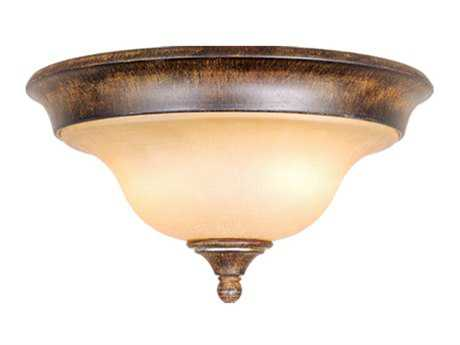 Vaxcel Berkeley Aged Walnut & Honey Linen Glass Two-Light 13 Flush Mount Light