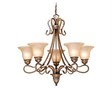 Vaxcel Berkeley Aged Walnut & Honey Linen Glass Five-Light 26'' Wide Chandelier