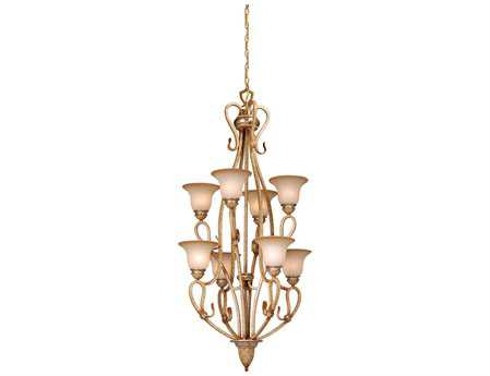 Vaxcel Berkeley Corinthian Patina &Waikiki Sand Glass Eight-Light 24'' Wide Grand Chandelier