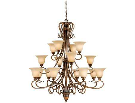 Vaxcel Berkeley Aged Walnut & Honey Linen Glass 16-Light 49'' Wide Grand Chandelier