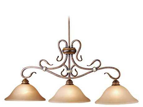 Vaxcel Berkeley Aged Walnut & Honey Linen Glass Three-Light Kitchen Island Light