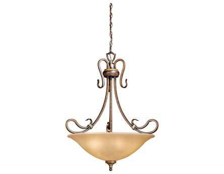 Vaxcel Berkeley Aged Walnut & Honey Linen Glass Four-Light 26 Pendant