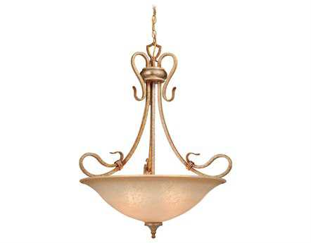 Vaxcel Berkeley Corinthian Patina & Waikiki Sand Glass Four-Light 26 Pendant