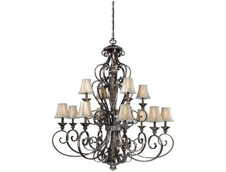 Vaxcel Bellagio Parisian Bronze & Fabric 12-Light 49'' Wide Grand Chandelier