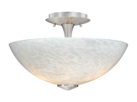 Vaxcel Milano Satin Nickel & White Umbra Two-Light 13 Mount Light
