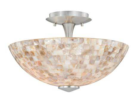 Vaxcel Milano Satin Nickel & Mosaic Shell Glass Two-Light 13 Mount Light