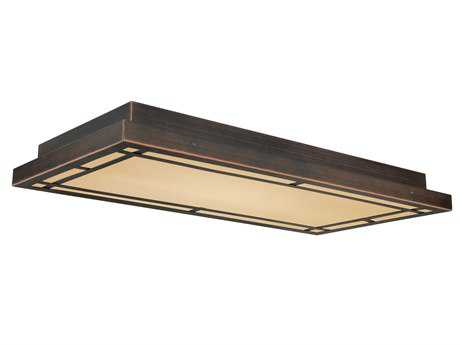 Vaxcel Oak Park Sienna Bronze & Umber & Etched Glass Three-Light 24 Flush Mount Light