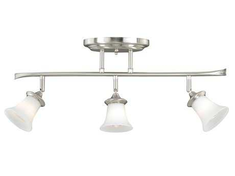 Vaxcel Sonora Satin Nickel & Frosted Opal Glass Three-Light Rail Light