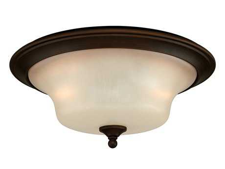 Vaxcel Sonora Venetian Bronze & Champagne Glass Two-Light 14 Flush Mount Light
