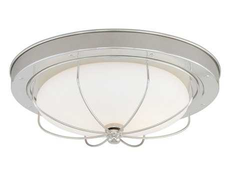 Vaxcel Marina Bay Polished Nickel & Frosted Opal Glass Two-Light 12 Flush Flush Mount Light