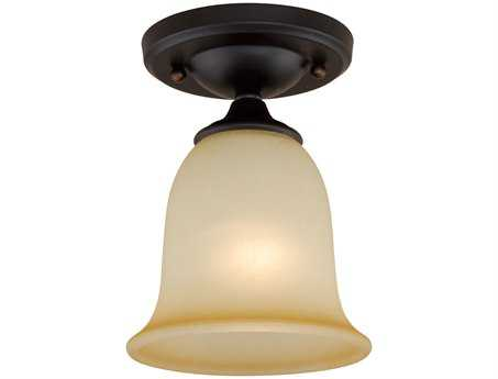Vaxcel Oil Burnished Bronze & Creme Cognac Glass 6 Semi-Flush Mount Light