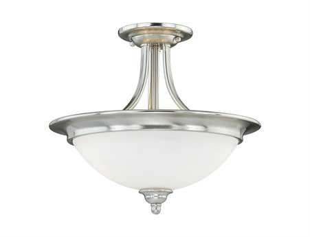 Vaxcel Lorimer Satin Nickel & Frosted Opal Glass Two-Light 15 Semi-Flush Mount Light