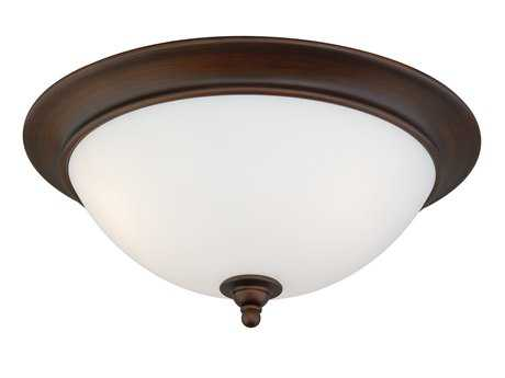 Vaxcel Lorimer Venetian Bronze & Frosted Opal Glass Two-Light 13 Flush Mount Light