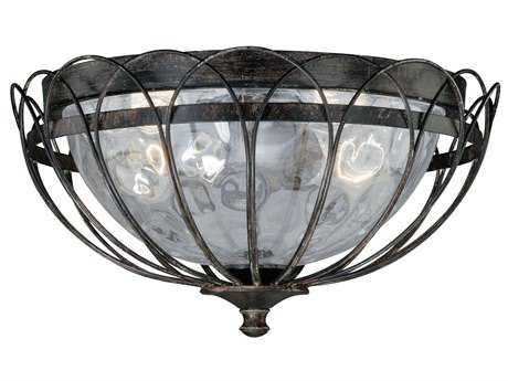 Vaxcel Novara Aged Walnut & Water Glass Two-Light 13 Flush Mount Light
