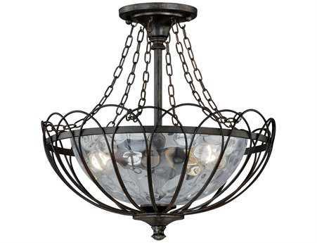 Vaxcel Novara Aged Walnut & Water Glass Two-Light 13 Semi-Flush Mount Light