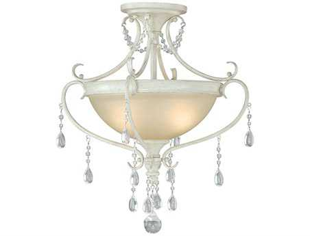Vaxcel Bristol Antique Ivory White Patina & Glass Two-Light 16.5 Semi-Flush Mount Light