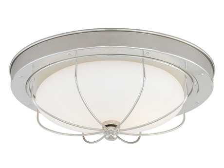 Vaxcel Marina Bay Polished Nickel & Frosted Opal Glass 15 Flush Mount Light