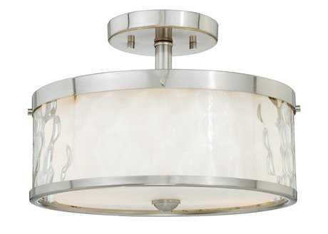 Vaxcel Vilo Satin Nickel & Outer Water Glass & Inner Frosted Opal Glass Two-Light 12 Semi-Flush Mount Light
