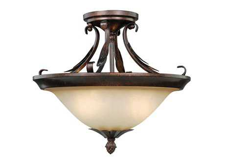 Vaxcel Coricelli Royal Bronze & Brushed Cognac Glass Two-Light Semi-Flush Mount Light