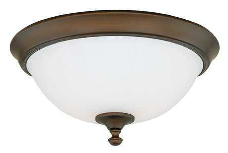 Vaxcel Claret Venetian Bronze & Etched White Glass Two-Light 13 Flush Mount Light