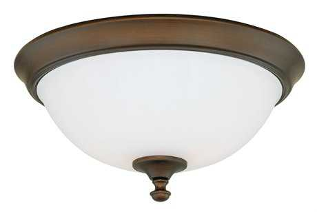 Vaxcel Claret Venetian Bronze & Etched White Glass Three-Light 15 Flush Mount Light