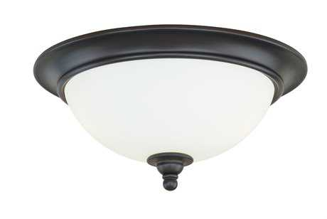 Vaxcel Darby New Bronze & Etched White Glass Three-Light 16 Flush Mount Light