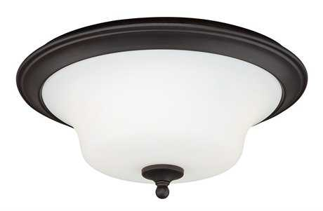 Vaxcel Cordoba Noble Bronze & Frosted Opal Glass Two-Light 14 Flush Mount Light