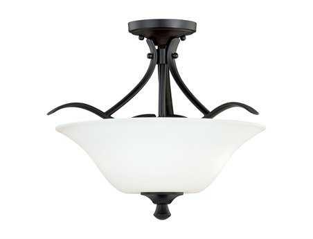Vaxcel Cordoba Noble Bronze & Etched White Glass Two-Light 13 Semi-Flush Mount Light