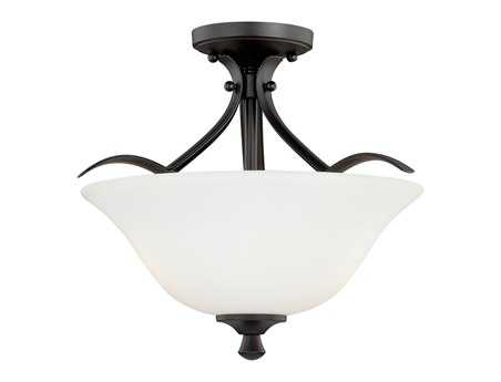 Vaxcel Cordoba Noble Bronze & Etched White Glass Two-Light 16 Semi-Flush Mount Light
