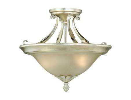 Vaxcel Austen Silver Leaf Two-Light 13 Semi-Flush Mount Light