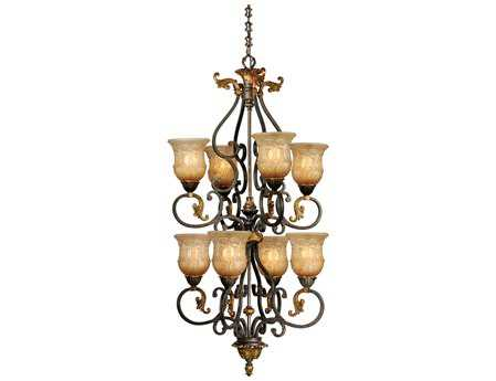 Vaxcel Caesar Walnut Patina & Maxgaux Glass Eight-Light 25'' Wide Chandelier
