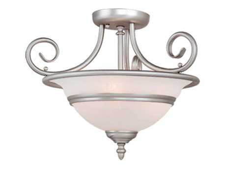 Vaxcel Da Vinci Brushed Nickel & Alabaster Glass Three-Light 16 Semi-Flush Mount Light